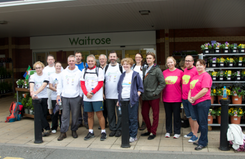 Walkers are welcomed at Waitrose, Lincoln with a drink and flapjack